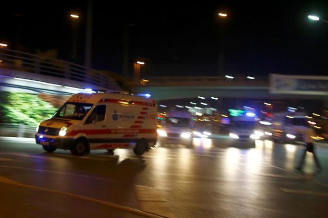 Ambulance cars arrive at Turkey's largest airport, Istanbul Ataturk, Turkey, June 28, 2016. (Osman Orsal/Reuters)