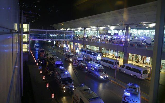 Ambulance cars arrive at Turkey's largest airport, Istanbul Ataturk, Turkey, following a blast June 28, 2016. (Osman Orsal/Reuters)