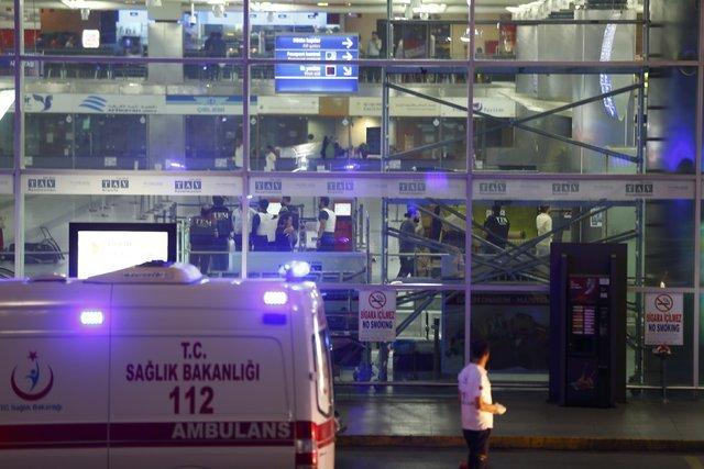 Ambulance cars arrive at Turkey's largest airport, Istanbul Ataturk, Turkey, following a blast, Tuesday, June 28, 2016. (Osman Orsal/Reuters)