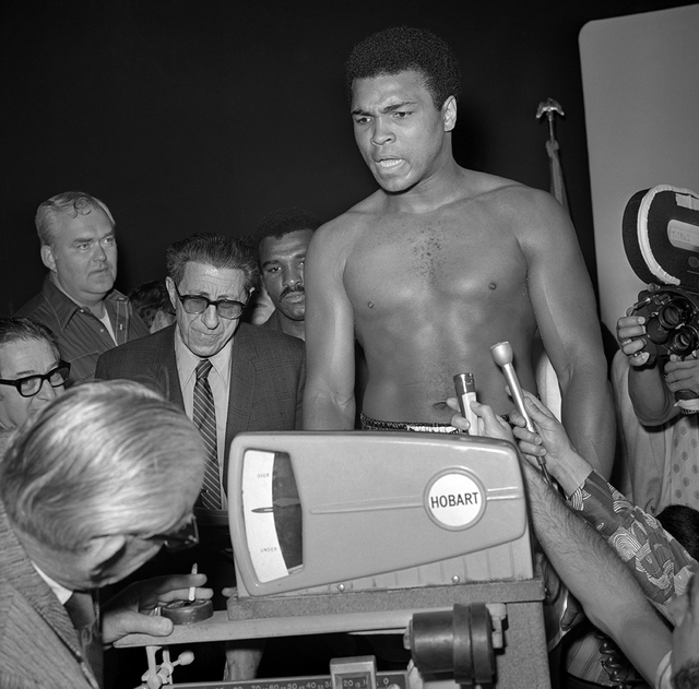 Muhammad Ali is weighed in for his fight against Jerry Quarry at the Las Vegas Convention Center June 27, 1972. Ali won with a TKO in the seventh round. (Las Vegas News Bureau)