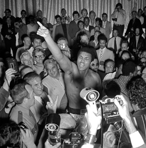 Muhammad Ali shouts during the weigh-in for his fight against Joe Bugner Feb. 14, 1973 at Caesars Palace in Las Vegas. (Las Vegas News Bureau)