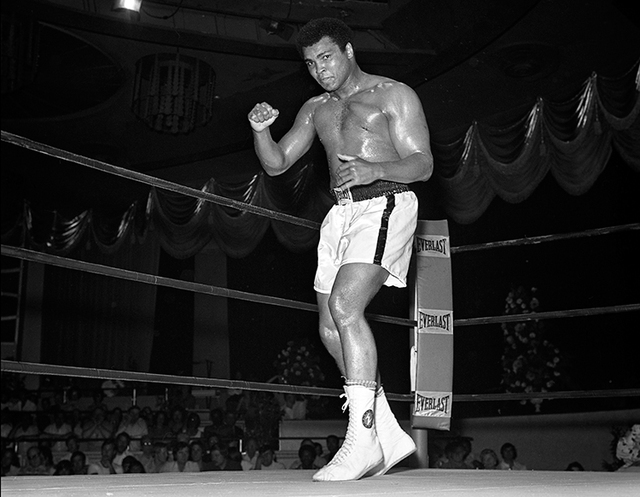 Muhammad Ali works out for his fight against Ron Lyle May 12, 1975 at the Tropicana in Las Vegas. (Las Vegas News Bureau)