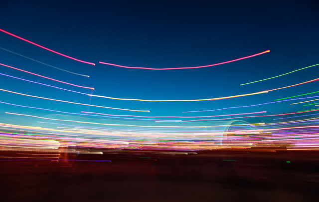 A long exposure photo taken at dusk at Electric Daisy Carnival at the Las Vegas Motor Speedway in Las Vegas on Saturday, June 20, 2015. (Chase Stevens/Las Vegas Review-Journal) Follow Chase Steven ...