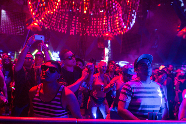 Attendees listen to music at the Neon Garden stage at Electric Daisy Carnival at the Las Vegas Motor Speedway in Las Vegas during the early hours of Sunday, June 21, 2015. (Chase Stevens/Las Vegas ...