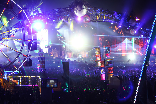 The Kinetic Field stage is seen at Electric Daisy Carnival at the Las Vegas Motor Speedway in Las Vegas during the early hours of Monday, June 22, 2015. (Chase Stevens/Las Vegas Review-Journal) Fo ...