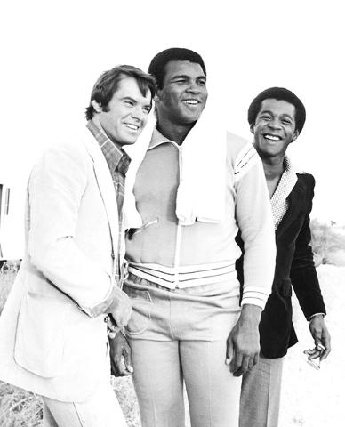 "Robert Urich, Muhammad Ali and Clifton Davis are seen during the filming of the ABC television drama ""Vega$"" Nov. 9, 1978. (Las Vegas News Bureau)"
