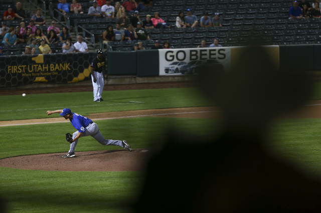 Las Vegas 51s player Seth Lugo pitches against the Salt Lake Bees at Smith's Ballpark in Salt Lake City, Utah on Sunday, June 19, 2016. The 51s won 8-1. (Chase Stevens/Las Vegas Review-Journal) Fo ...