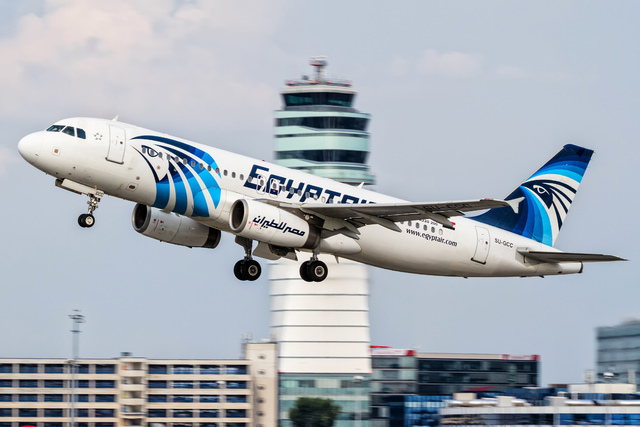 An EgyptAir Airbus A320 with the registration SU-GCC takes off from Vienna International Airport, Austria, on Aug. 21, 2015. Egypt's Civil Aviation Ministry said Wednesday, June 1, 2016, that a Fr ...