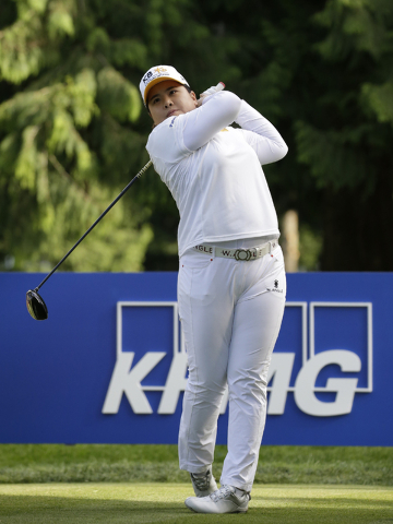 Inbee Park tees off during the first round at the Women's PGA Championship golf tournament at Sahalee Country Club on Thursday, June 9, 2016, in Sammamish, Wash. (Elaine Thompson/AP)