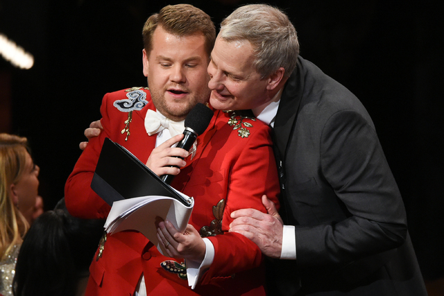 "Host James Corden, left, and actor Jeff Daniels sing ""The Sound of Music"" together at the Tony Awards at the Beacon Theatre on June 12, 2016, in New York. The audience of this year's telecast was  ..."