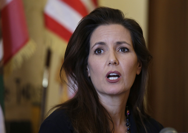 Oakland Mayor Libby Schaaf answers questions during a news conference at City Hall Wednesday, June 15, 2016, in Oakland, Calif. Schaaf removed the interim police chief Wednesday after appointing h ...