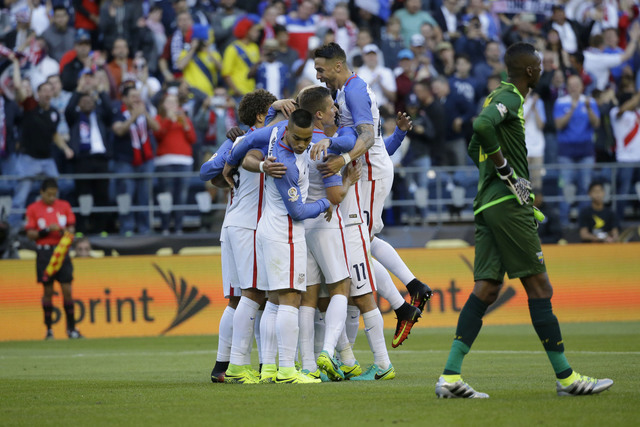 United States' players celebrate after Gyasi Zardes scored against Ecuador during a Copa America Centenario quarterfinal soccer match, Thursday, June 16, 2016 at CenturyLink Field in Seattle. The  ...