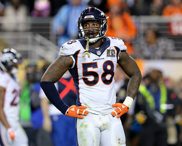 In this Feb. 7, 2016, file photo, Denver Broncos' Von Miller pauses during NFL football's Super Bowl 50 against the Carolina Panthers in Santa Clara, Calif. Miller, Miami Heat's Dwyane Wade and Ch ...
