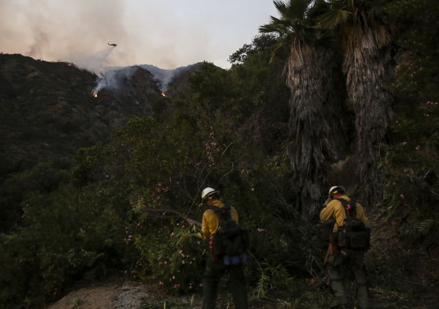 Members of hand crew cut down tress as a firefighting helicopter making a water drop on a wildfire in Duarte, Calif., Tuesday, June 21, 2016. Firefighters worked to make gains against Southern Cal ...