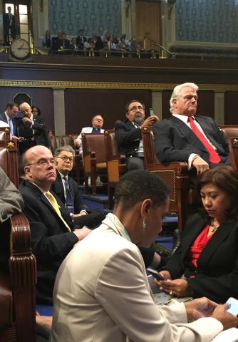 Democrat members of Congress, including, from left, Rep. Steve Cohen, D-Tenn., Sen. Al Franken, D-Minn., and Rep. Raul GriJalva, D-Ariz., participate in sit-down protest seeking a a vote on gun co ...