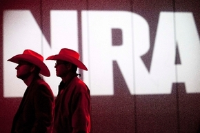 NRA members listen to speakers during the NRA convention on Saturday in Houston. National Rifle Association leaders told members Saturday that the fight against gun control legislation is far from ...