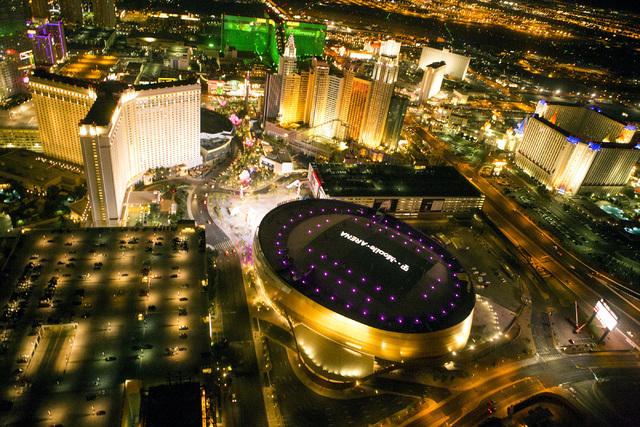 An aerial view of T-Mobile Arena is seen on Thursday, April 21, 2016. Jeff Scheid/Las Vegas Review-Journal Follow @jlscheid