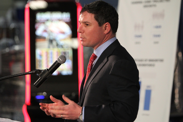 Geoff Freeman, president of the American Gaming Association, speaks during a press conference in Las Vegas Thursday, Feb. 12, 2015. (Erik Verduzco/Las Vegas Review-Journal)