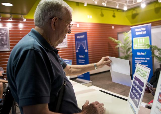 Bill Vint registers at the TSA PreCheck Enrollment Center at McCarran International Airport in Las Vegas on Wednesday, June 29, 2016. Daniel Clark/Las Vegas Review-Journal Follow @DanJClarkPhoto