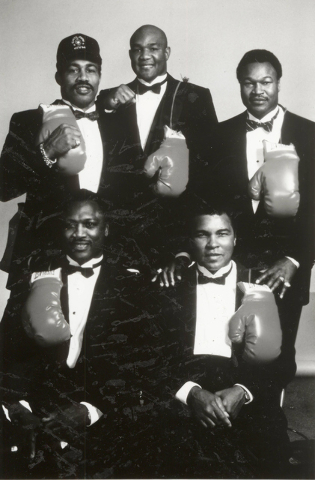 Five former world heavyweight champions: Ken Norton, top left, George Foreman, middle, Larry Holmes, top right, Joe Frazier, bottom left, Muhammad Ali, bottom right.  (Las Vegas Review-Journal File)