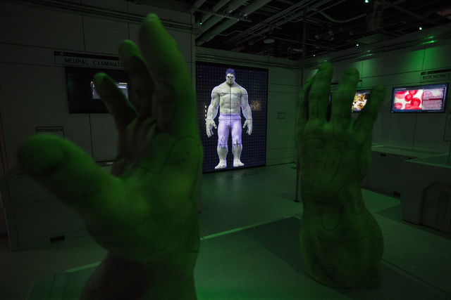 An interactive Hulk screen is seen inside the Marvel's Avengers STATION at the Treasure Island hotel-casino on Friday, June 10, 2016, in Las Vegas. Erik Verduzco/Las Vegas Review-Journal Follow @E ...