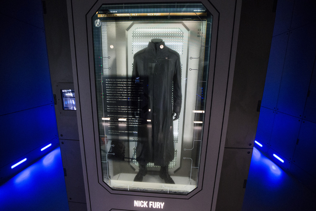 A movie character costume for Nick Fury is seen at the Marvel's Avengers STATION inside the Treasure Island hotel-casino on Friday, June 10, 2016, in Las Vegas. Erik Verduzco/Las Vegas Review-Jour ...