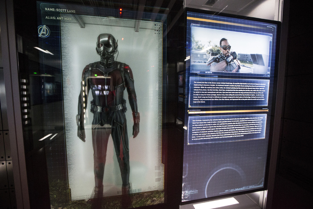 A movie character costume for Ant-Man is seen at the Marvel's Avengers STATION inside the Treasure Island hotel-casino on Friday, June 10, 2016, in Las Vegas. Erik Verduzco/Las Vegas Review-Journa ...