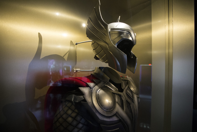 A movie character costume for Thor is seen at the Marvel's Avengers STATION inside the Treasure Island hotel-casino on Friday, June 10, 2016, in Las Vegas. Erik Verduzco/Las Vegas Review-Journal F ...