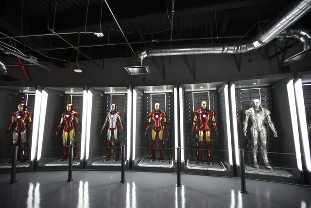 Movie character costumes for Iron Man are seen at the Marvel's Avengers STATION inside the Treasure Island hotel-casino on Friday, June 10, 2016, in Las Vegas. Erik Verduzco/Las Vegas Review-Journ ...