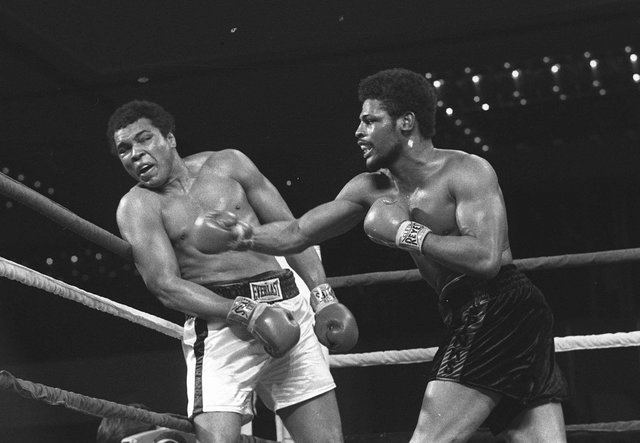 Leon Spinks connects with a right hook to Muhammad Ali, in this Feb.16, 1978 file photo taken during the late rounds of their championship fight in Las Vegas.  (AP Photo, File)