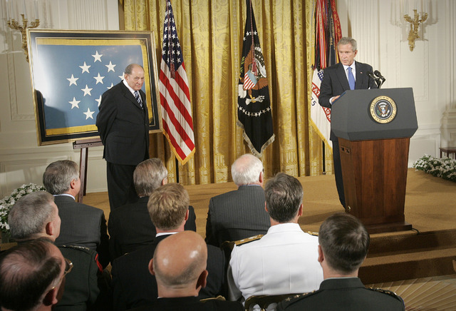 President Bush presents the Medal of Honor to Cpl. Tibor Rubin, Friday, Sept. 23, 2005, in the East Room at the White House. (Lawrence Jackson/AP)