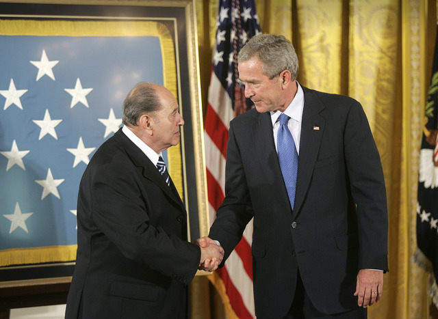 President Bush with Medal of Honor awardee, Cpl. Tibor Rubin, Friday, Sept. 23, 2005, in the East Room at the White House.  (Lawrence Jackson/AP)
