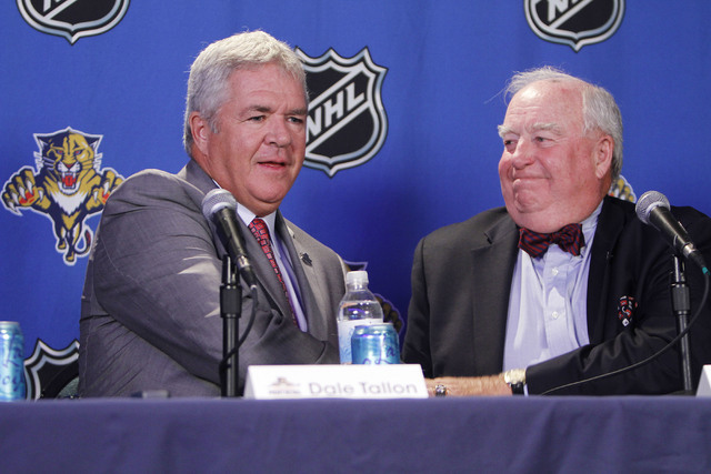 Bill Torrey, right, welcomes Dale Tallon to the Florida Panthers on Tuesday, May 18, 2010, in Sunrise, Fla., where Tallon was named as the team's general manager. (J Pat Carter/AP)