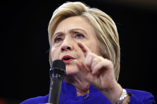 Democratic presidential candidate Hillary Clinton speaks at a rally, Monday, June 6, 2016, in Long Beach, Calif. (John Locher/AP)