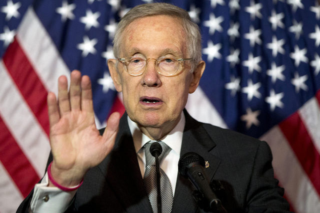 In this June 9, 2016, photo, Senate Minority Leader Harry Reid of Nev., speaks during a news conference on Capitol Hill in Washington. (AP Photo/Alex Brandon)