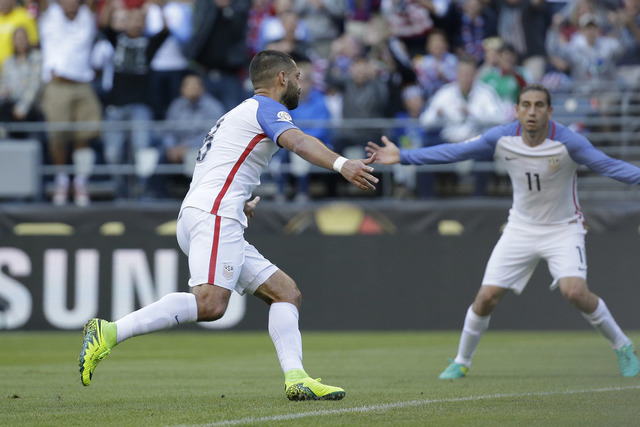 United States' Clint Dempsey, left, celebrates scoring his side's first goal against Ecuador during a Copa America Centenario quarterfinal soccer match, Thursday, June 16, 2016 at CenturyLink Fiel ...
