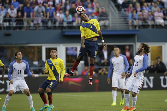 Ecuador's Michael Arroyo, center, heads the ball during a Copa America Centenario quarterfinal soccer match against the Unites States, Thursday, June 16, 2016 at CenturyLink Field in Seattle. The  ...