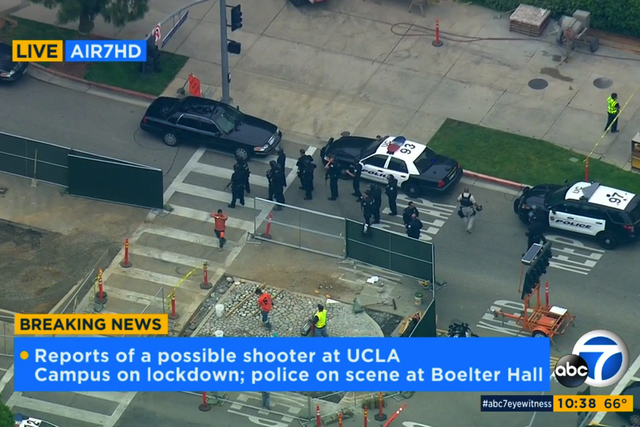 In this image made from video, police respond to a report of a possible shooter at the University of California, Los Angeles, Wednesday, June 1, 2016, in Los Angeles. (KABC-7 via AP)