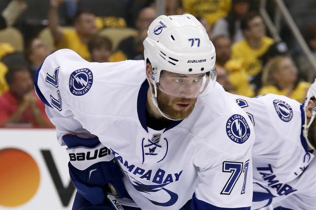 Tampa Bay Lightning's Victor Hedman (77) plays against the Pittsburgh Penguins during the second period of Game 7 of the NHL hockey Stanley Cup Eastern Conference finals, Thursday, May 26, 2016, i ...
