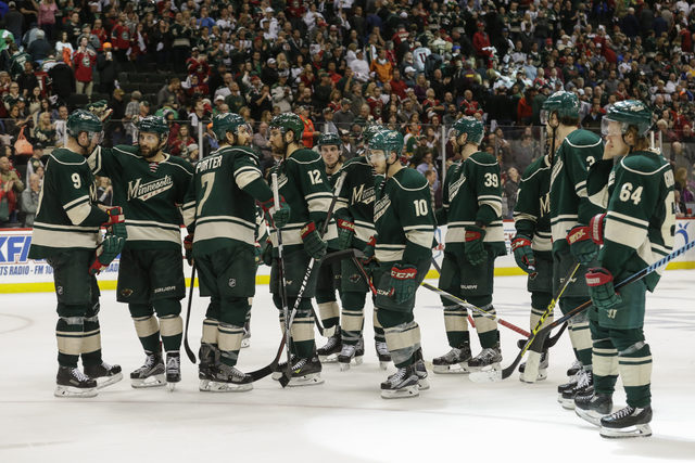 The Minnesota Wild, shown after a game against the Dallas Stars on April 24, 2016, and the Columbus Blue Jackets were the last teams to join the NHL, in 2000, before Las Vegas was awarded a franch ...