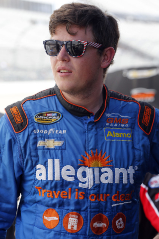 Spencer Gallagher during practice for the NASCAR Truck Series JACOB Companies 200 race at Dover International Speedway, Thursday, May 12, 2016, in Dover, Del. (Russell LaBounty/NKP via AP) MANDATO ...