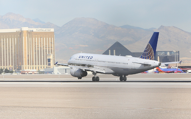 A Southwest Airlines jet lands at McCarran International Airport Monday, April 4, 2016. Bizuayehu Tesfaye/Las Vegas Review-Journal Follow @bizutesfaye