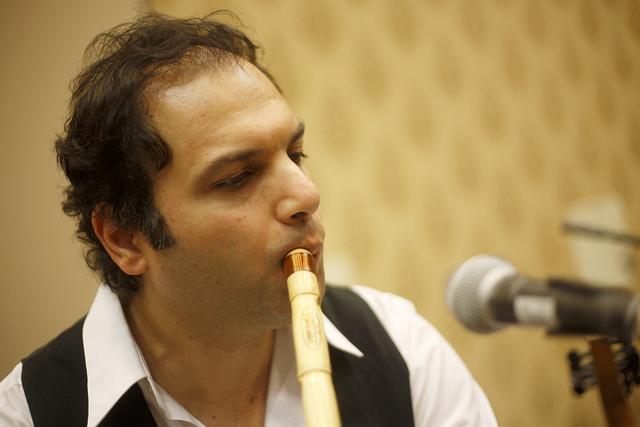 Dr. Bishr Hijazi plays the Arab flute as part of the Arab Music Ensemble of Las Vegas at the American Federation of Musicians Convention at the Westgate Pavilion on Tuesday, June 21, 2016, in Las  ...
