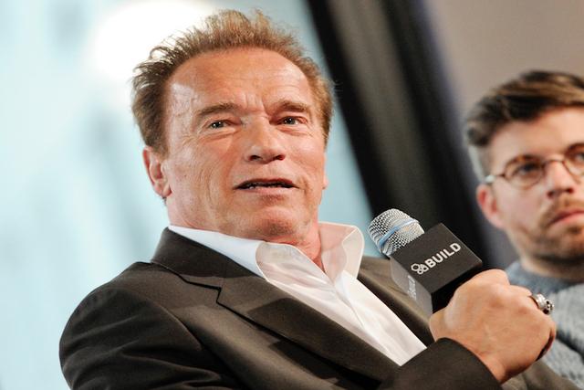 Arnold Schwarzenegger participates in AOL's BUILD Speaker Series in New York. (Evan Agostini/Invision/AP)
