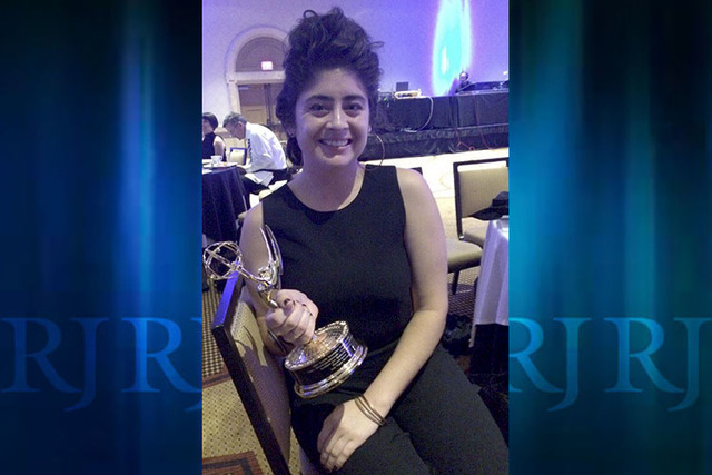 Las Vegas Review-Journal visual journalist Rachel Aston is shown with her award during the 42nd Annual Pacific Southwest Emmy Awards at the Westin Mission Hills Golf Resort & Spa in Palms Spri ...