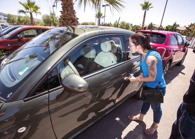 Courtney Crater checks out a car at Findlay Fiat, 210 N. Gibson Rd., Henderson, on Tuesday, June 1, 2016. Jeff Scheid/Las Vegas Review-Journal Follow @jlscheid