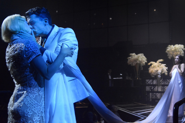 """Ruby Lewis, left, performs as Daisy Buchanan and Claran McCarthy as Jay Gatsby in For the Record's """"Baz"""" at Light nightclub in Mandalay Bay in June 2015. (Bill Hughes/Las Vegas Review-Journal)"""