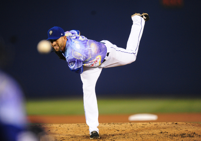 Las Vegas 51s starting pitcher Duane Below delivers to the Memphis Redbirds in the fourth inning of their minor league baseball game at Cashman Field in Las Vegas Friday, May 27, 2016. Las Vegas w ...