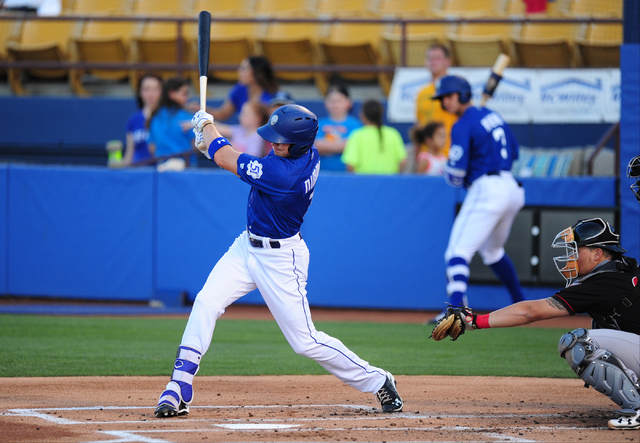 Las Vegas 51s batter Brandon Nimmo hits a single against the Nashville Sounds in the first inning of their minor league baseball game at Cashman Field in Las Vegas Monday, May 23, 2016. (Josh Holm ...