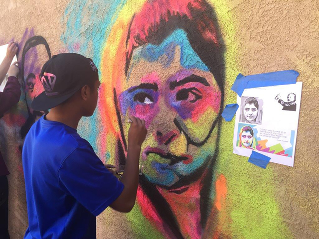 Bishop Gorman junior Cobi DeLeon is part of the BGHS National Art Honors Society. The National Art Honors Society helped plan, prep and design the artistic beautification of New Genesis Transition ...